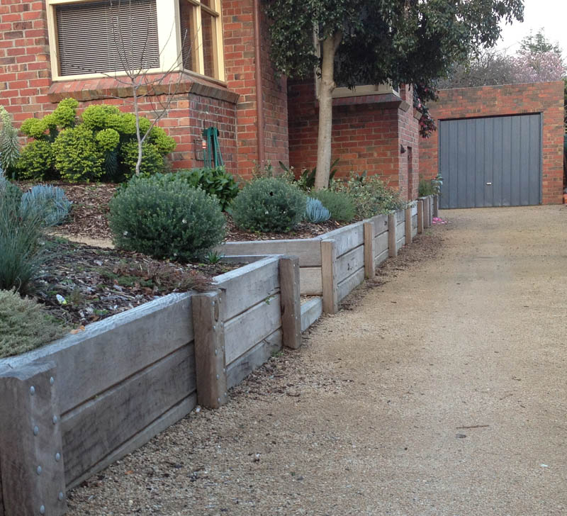 Retaining walls geelong timber precast concrete brick for Landscaping rocks geelong